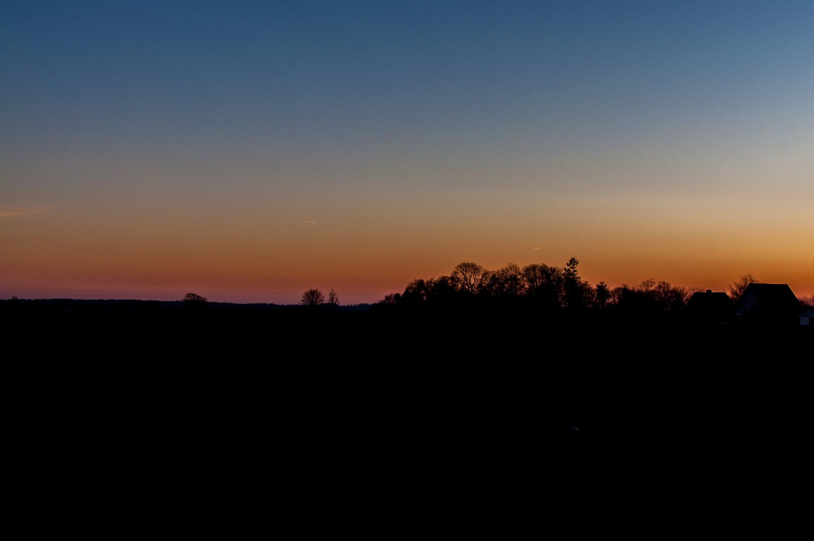 Solnedgang over Askov