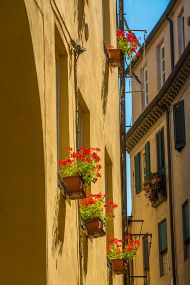 Lucca blomster på balkoner